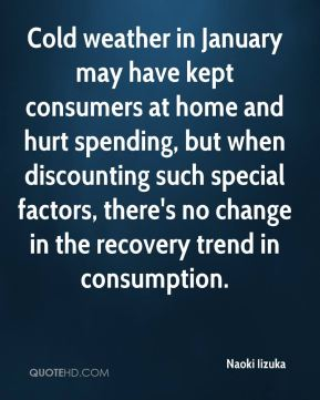 Cold weather in January may have kept consumers at home and hurt spending, but when discounting such special factors, there's no change in the recovery trend in consumption.