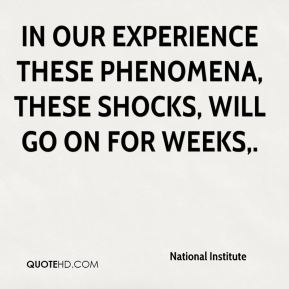 National Institute  - In our experience these phenomena, these shocks, will go on for weeks.