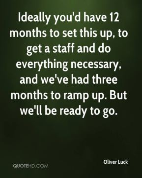 Ideally you'd have 12 months to set this up, to get a staff and do everything necessary, and we've had three months to ramp up. But we'll be ready to go.
