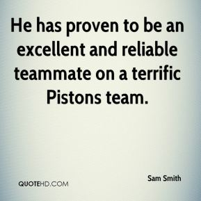 He has proven to be an excellent and reliable teammate on a terrific Pistons team.