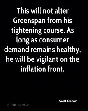 This will not alter Greenspan from his tightening course. As long as consumer demand remains healthy, he will be vigilant on the inflation front.