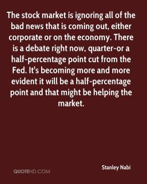 Stanley Nabi  - The stock market is ignoring all of the bad news that is coming out, either corporate or on the economy. There is a debate right now, quarter-or a half-percentage point cut from the Fed. It's becoming more and more evident it will be a half-percentage point and that might be helping the market.