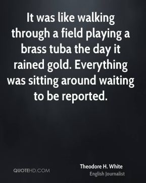 Theodore H. White  - It was like walking through a field playing a brass tuba the day it rained gold. Everything was sitting around waiting to be reported.