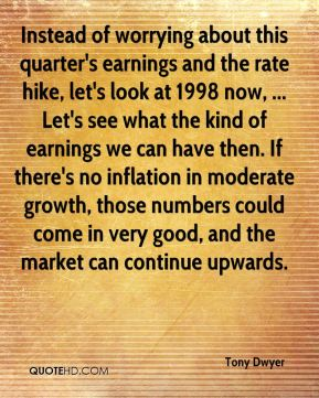 Tony Dwyer  - Instead of worrying about this quarter's earnings and the rate hike, let's look at 1998 now, ... Let's see what the kind of earnings we can have then. If there's no inflation in moderate growth, those numbers could come in very good, and the market can continue upwards.