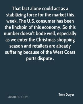 Tony Dwyer  - That fact alone could act as a stabilizing force for the market this week. The U.S. consumer has been the linchpin of this economy. So this number doesn't bode well, especially as we enter the Christmas shopping season and retailers are already suffering because of the West Coast ports dispute .