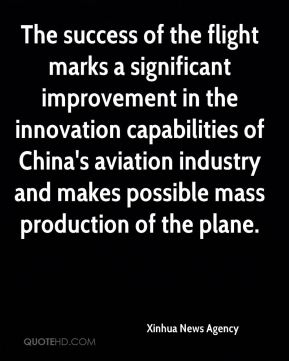 The success of the flight marks a significant improvement in the innovation capabilities of China's aviation industry and makes possible mass production of the plane.