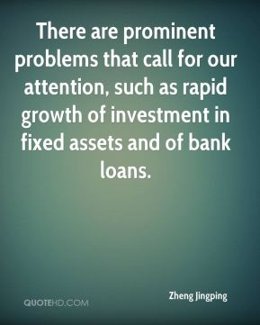 There are prominent problems that call for our attention, such as rapid growth of investment in fixed assets and of bank loans.