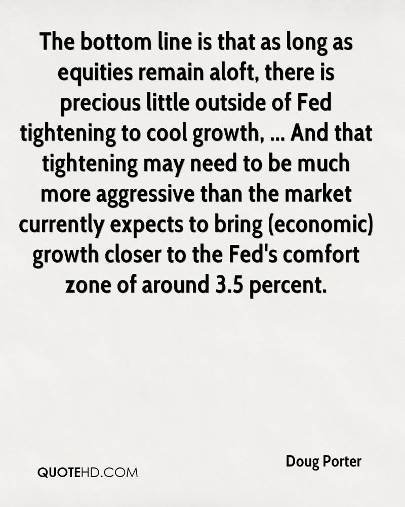 The bottom line is that as long as equities remain aloft, there is precious little outside of Fed tightening to cool growth, ... And that tightening may need to be much more aggressive than the market currently expects to bring (economic) growth closer to the Fed's comfort zone of around 3.5 percent.