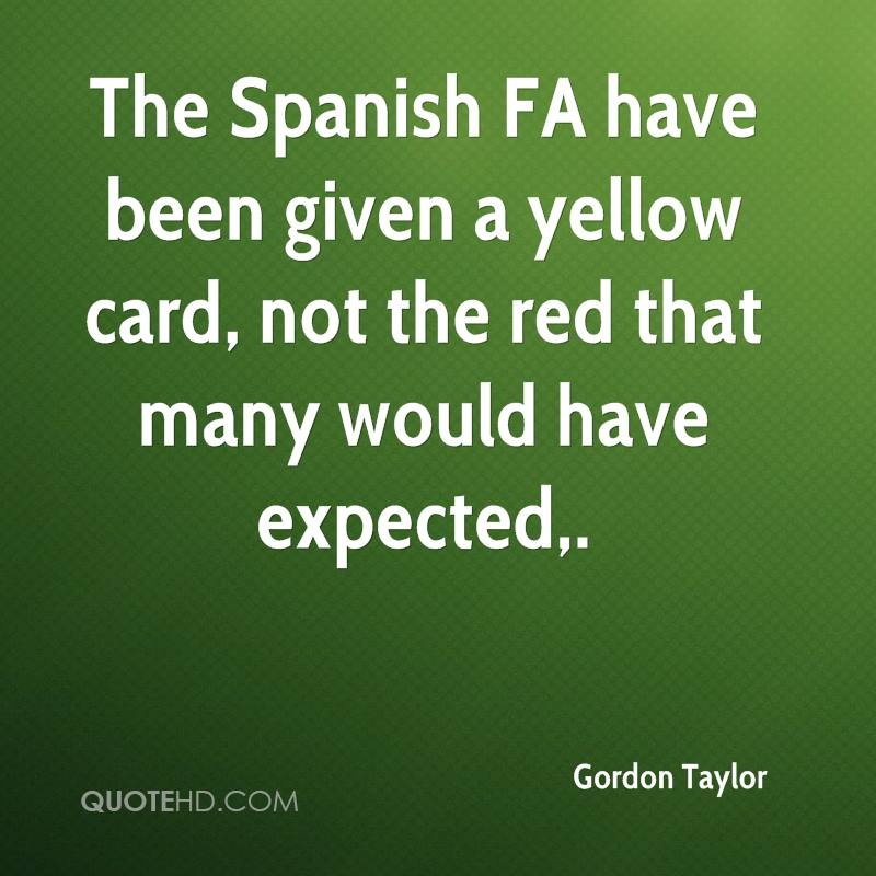 The Spanish FA have been given a yellow card, not the red that many would have expected.