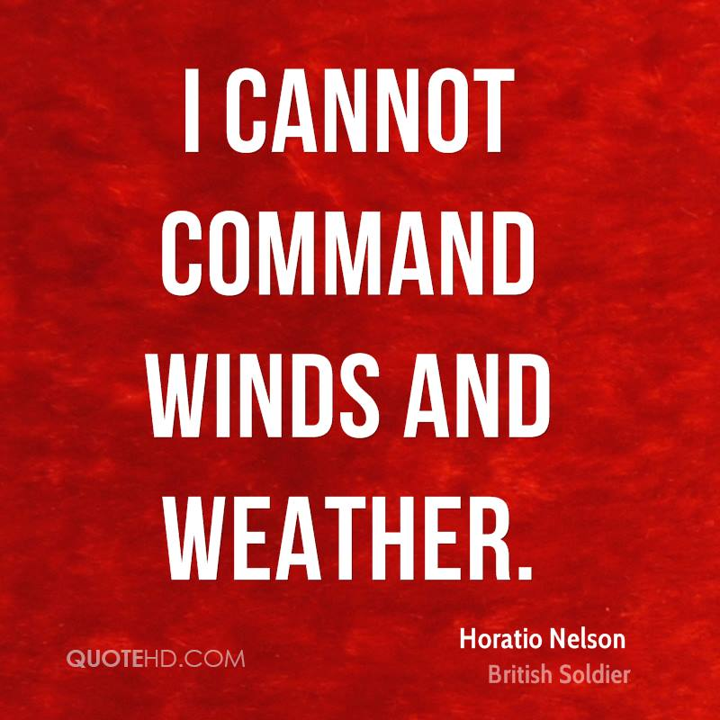 I cannot command winds and weather.