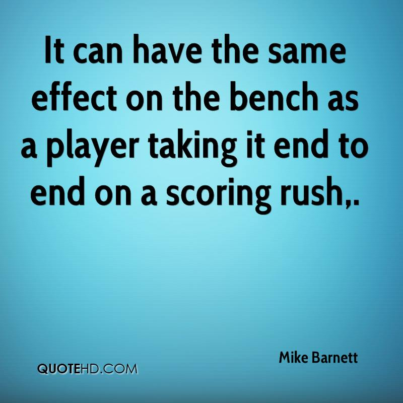 It can have the same effect on the bench as a player taking it end to end on a scoring rush.