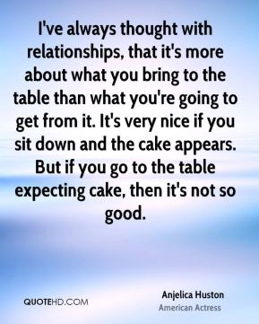 I've always thought with relationships, that it's more about what you bring to the table than what you're going to get from it. It's very nice if you sit down and the cake appears. But if you go to the table expecting cake, then it's not so good.
