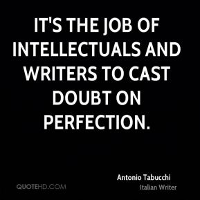 It's the job of intellectuals and writers to cast doubt on perfection.