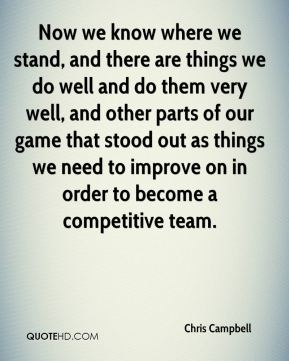 Now we know where we stand, and there are things we do well and do them very well, and other parts of our game that stood out as things we need to improve on in order to become a competitive team.