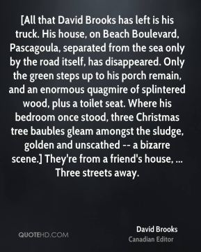 [All that David Brooks has left is his truck. His house, on Beach Boulevard, Pascagoula, separated from the sea only by the road itself, has disappeared. Only the green steps up to his porch remain, and an enormous quagmire of splintered wood, plus a toilet seat. Where his bedroom once stood, three Christmas tree baubles gleam amongst the sludge, golden and unscathed -- a bizarre scene.] They're from a friend's house, ... Three streets away.