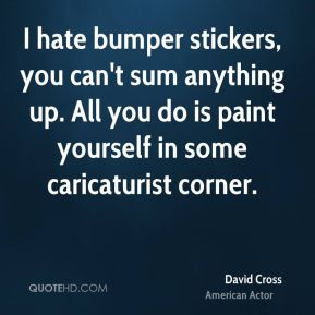 David Cross - I hate bumper stickers, you can't sum anything up. All you do is paint yourself in some caricaturist corner.