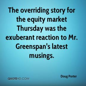 Doug Porter - The overriding story for the equity market Thursday was the exuberant reaction to Mr. Greenspan's latest musings.