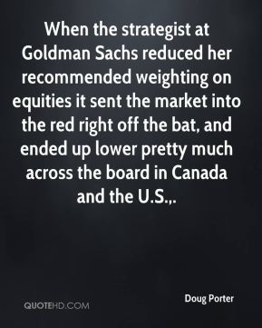 Doug Porter - When the strategist at Goldman Sachs reduced her recommended weighting on equities it sent the market into the red right off the bat, and ended up lower pretty much across the board in Canada and the U.S..