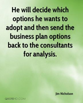 Jim Nicholson  - He will decide which options he wants to adopt and then send the business plan options back to the consultants for analysis.