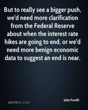 John Forelli  - But to really see a bigger push, we'd need more clarification from the Federal Reserve about when the interest rate hikes are going to end, or we'd need more benign economic data to suggest an end is near.