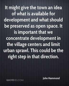 John Hammond  - It might give the town an idea of what is available for development and what should be preserved as open space. It is important that we concentrate development in the village centers and limit urban sprawl. This could be the right step in that direction.