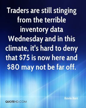 Kevin Kerr  - Traders are still stinging from the terrible inventory data Wednesday and in this climate, it's hard to deny that $75 is now here and $80 may not be far off.