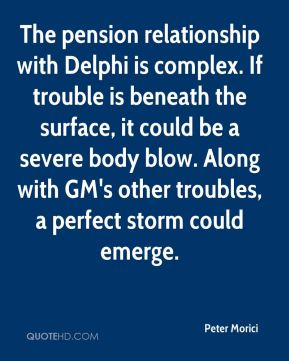 Peter Morici  - The pension relationship with Delphi is complex. If trouble is beneath the surface, it could be a severe body blow. Along with GM's other troubles, a perfect storm could emerge.