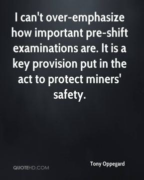 Tony Oppegard  - I can't over-emphasize how important pre-shift examinations are. It is a key provision put in the act to protect miners' safety.
