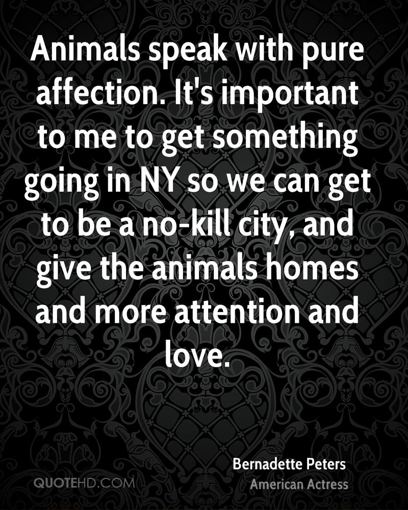 Animals speak with pure affection. It's important to me to get something going in NY so we can get to be a no-kill city, and give the animals homes and more attention and love.