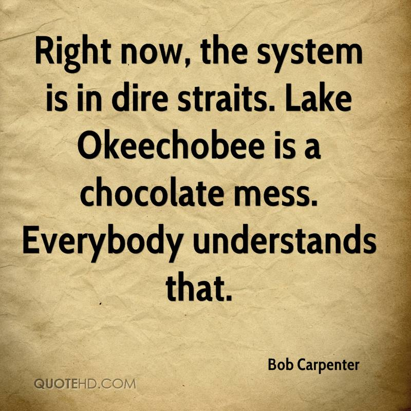 Right now, the system is in dire straits. Lake Okeechobee is a chocolate mess. Everybody understands that.