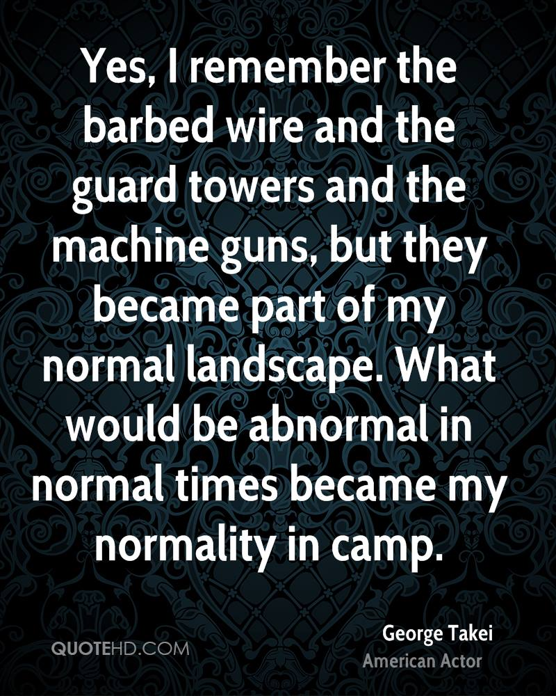 Yes, I remember the barbed wire and the guard towers and the machine guns, but they became part of my normal landscape. What would be abnormal in normal times became my normality in camp.