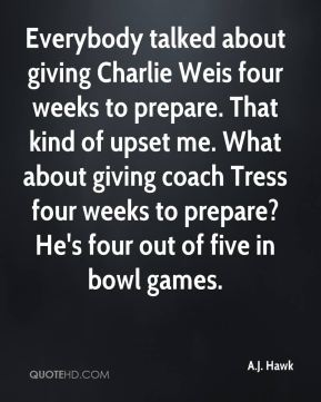 Everybody talked about giving Charlie Weis four weeks to prepare. That kind of upset me. What about giving coach Tress four weeks to prepare? He's four out of five in bowl games.