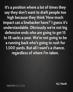 It's a position where a lot of times they say they don't want to draft people too high because they think 'How much impact can a linebacker have?' I guess it's understandable. Obviously we're not big defensive ends who are going to get 15 to 18 sacks a year. We're not going to be a running back who's going to rush for 1,500 yards. But all I want's a chance, regardless of where I'm taken.