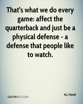 That's what we do every game: affect the quarterback and just be a physical defense - a defense that people like to watch.