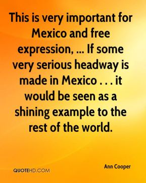 This is very important for Mexico and free expression, ... If some very serious headway is made in Mexico . . . it would be seen as a shining example to the rest of the world.