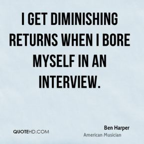 I get diminishing returns when I bore myself in an interview.