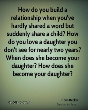 How do you build a relationship when you've hardly shared a word but suddenly share a child? How do you love a daughter you don't see for nearly two years? When does she become your daughter? How does she become your daughter?