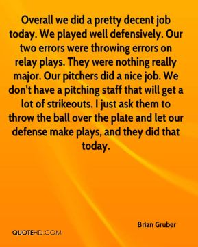 Brian Gruber - Overall we did a pretty decent job today. We played well defensively. Our two errors were throwing errors on relay plays. They were nothing really major. Our pitchers did a nice job. We don't have a pitching staff that will get a lot of strikeouts. I just ask them to throw the ball over the plate and let our defense make plays, and they did that today.