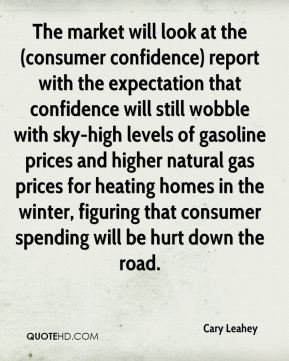 The market will look at the (consumer confidence) report with the expectation that confidence will still wobble with sky-high levels of gasoline prices and higher natural gas prices for heating homes in the winter, figuring that consumer spending will be hurt down the road.