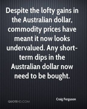 Craig Ferguson - Despite the lofty gains in the Australian dollar, commodity prices have meant it now looks undervalued. Any short-term dips in the Australian dollar now need to be bought.