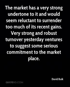 The market has a very strong undertone to it and would seem reluctant to surrender too much of its recent gains. Very strong and robust turnover yesterday ventures to suggest some serious commitment to the market place.