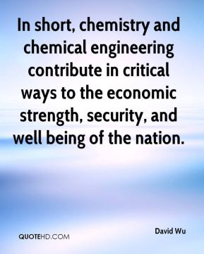 In short, chemistry and chemical engineering contribute in critical ways to the economic strength, security, and well being of the nation.