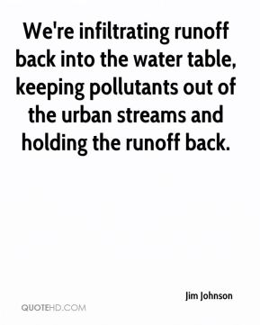 Jim Johnson  - We're infiltrating runoff back into the water table, keeping pollutants out of the urban streams and holding the runoff back.