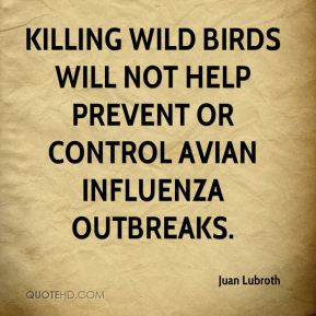 Juan Lubroth  - Killing wild birds will not help prevent or control avian influenza outbreaks.