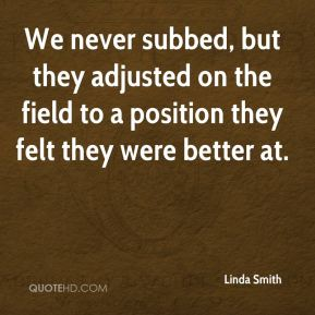 We never subbed, but they adjusted on the field to a position they felt they were better at.