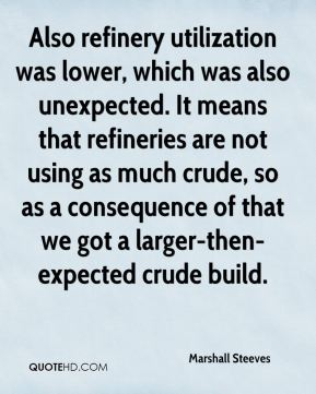 Also refinery utilization was lower, which was also unexpected. It means that refineries are not using as much crude, so as a consequence of that we got a larger-then-expected crude build.