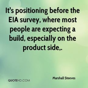 Marshall Steeves  - It's positioning before the EIA survey, where most people are expecting a build, especially on the product side.