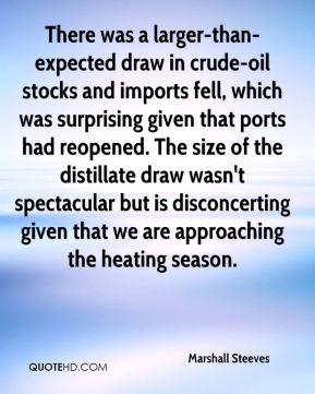 Marshall Steeves  - There was a larger-than-expected draw in crude-oil stocks and imports fell, which was surprising given that ports had reopened. The size of the distillate draw wasn't spectacular but is disconcerting given that we are approaching the heating season.
