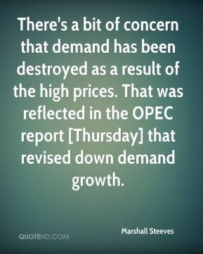 There's a bit of concern that demand has been destroyed as a result of the high prices. That was reflected in the OPEC report [Thursday] that revised down demand growth.