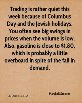 Marshall Steeves  - Trading is rather quiet this week because of Columbus Day and the Jewish holidays. You often see big swings in prices when the volume is low. Also, gasoline is close to $1.80, which is probably a little overboard in spite of the fall in demand.
